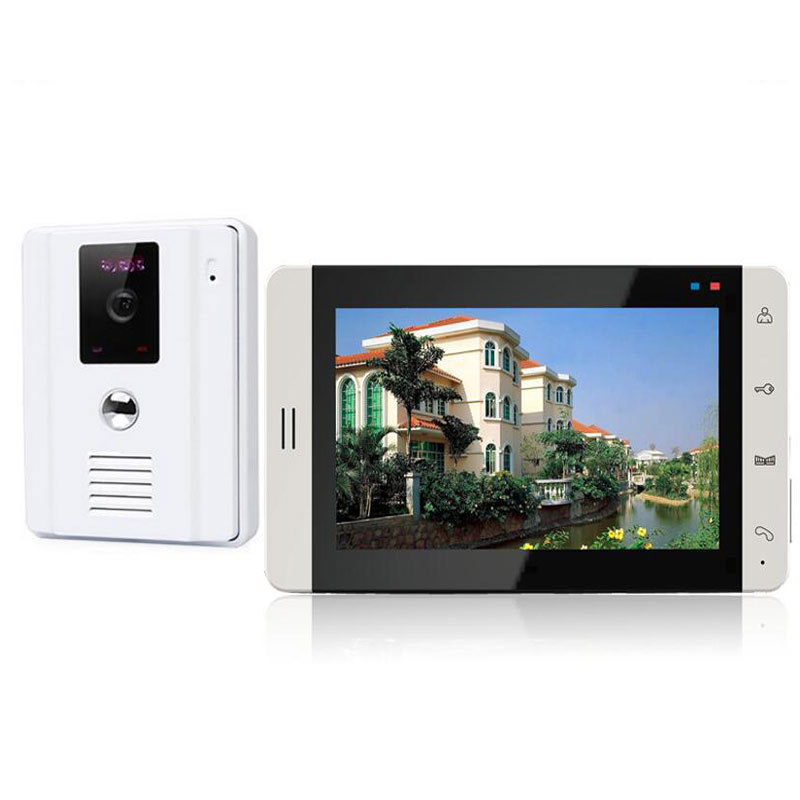 7 inch Touch Button Video Intercom System Waterproof Video Door Phone Door bell with IR LED Camera Easy Install