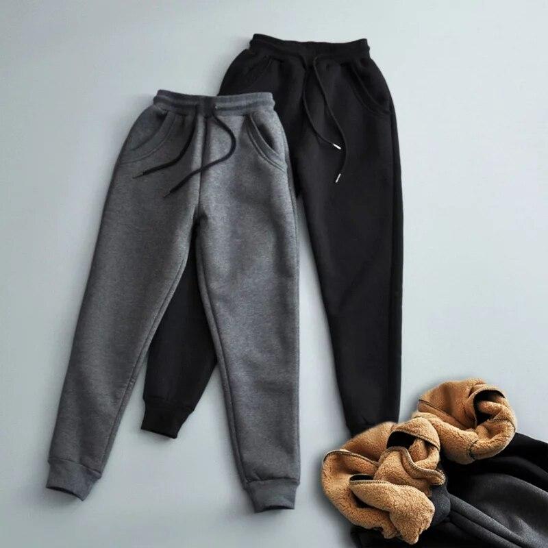 Winter Women cotton thickening Imitation lamb hair Warm sweatpants Casual gray Comfy Sweatpants Leisure Trousers black