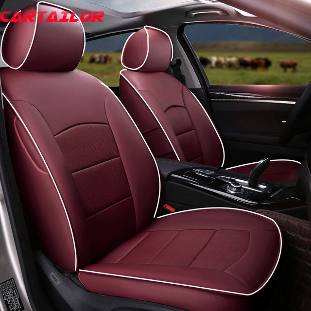 Cartailor Cowhide Cover Seat Protector For Hyundai Elantra Car Leather Seats Covers Accessories