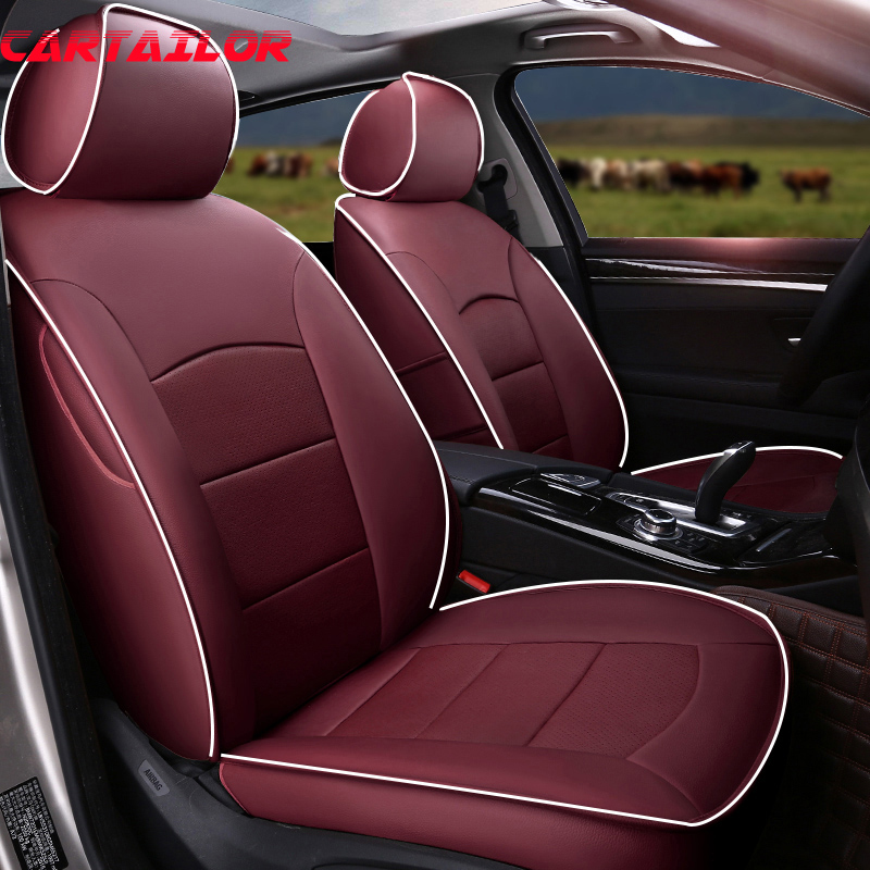CARTAILOR Cowhide Cover Seat Protector for Hyundai Elantra Car Seat Cover Leather Seats Covers & Accessories Tailored Supports