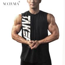 Voobuyla 2019 nowych mężczyzna bawełniana koszulka bez rękawów podkoszulek siłownie kamizelka fitness bez rękawów Sport Tank top Crossfit trening kamizelka do biegania 3XL tanie tanio COTTON Lato Pasuje prawda na wymiar weź swój normalny rozmiar