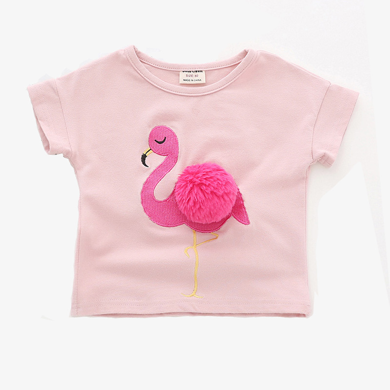 new baby girls tops cute flamingo pattern summer girls clothing short sleeve children t shirts for