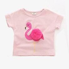ce08a52880f08e Nowe Dziecko Dziewczyny Topy Śliczne Flamingo Wzór Letnie Dziewczyny Odzież  Krótki Rękaw koszulki Dla Dzieci dla Dziewczyn Baweł.