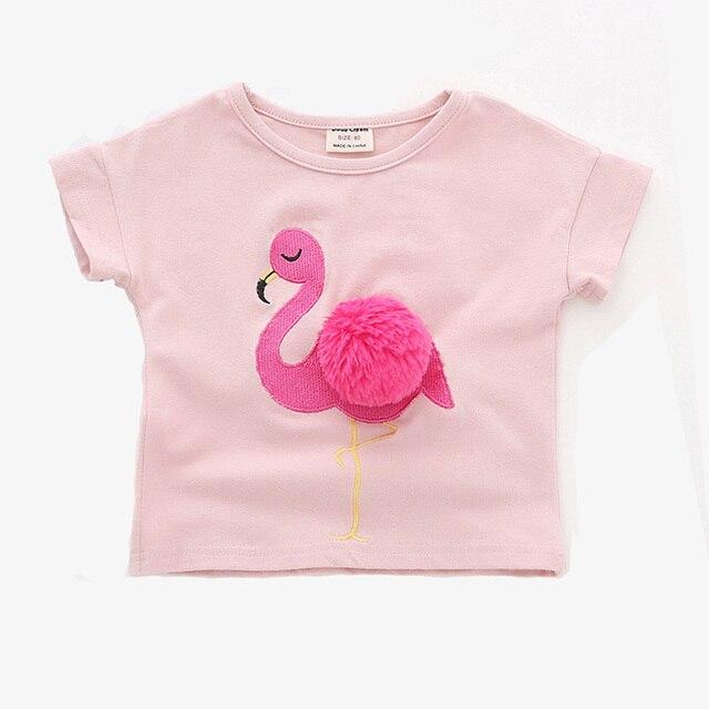 ed48f950283 € 6.34 49% de DESCUENTO|Nuevo Bebé niñas Tops lindo patrón flamenco verano  Niñas Ropa de manga corta niños camisetas para niñas Camiseta de ...