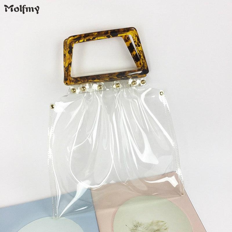 Retro Acrylic Handle Transparent Jelly Totes Brand Design Summer PVC Clear Handbag Satchel Travel Shopping Big Women Beach Bags