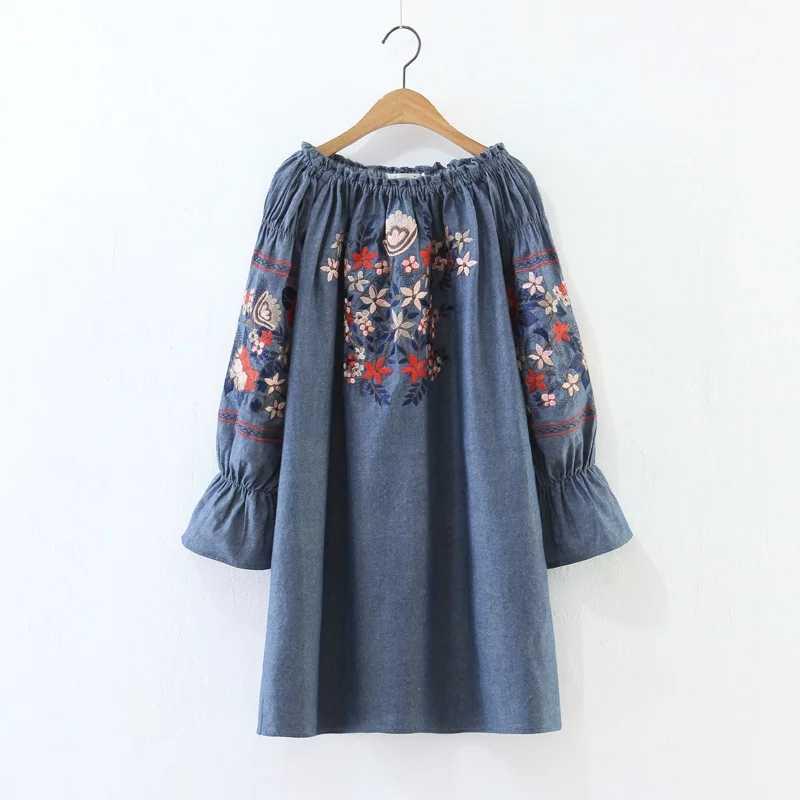 H. SA 2019 vestido de verano para mujer, Vestidos Midi con hombros descubiertos, Vestidos de playa, minivestido bordado de flores bohemio con cuello oblicuo