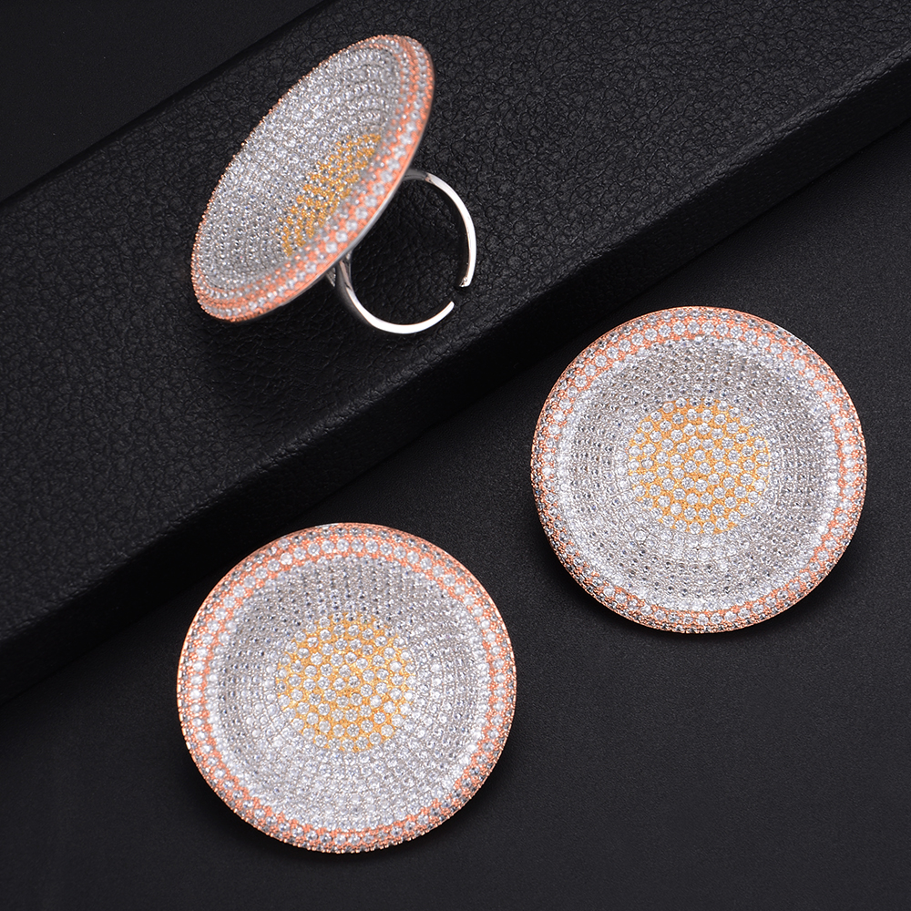 41mm Luxury Brand Geometry Round Shape Earrings and Ring Jewelry Set For Women Wedding Engagement 41mm Luxury Brand Geometry Round Shape Earrings and Ring Jewelry Set For Women Wedding Engagement