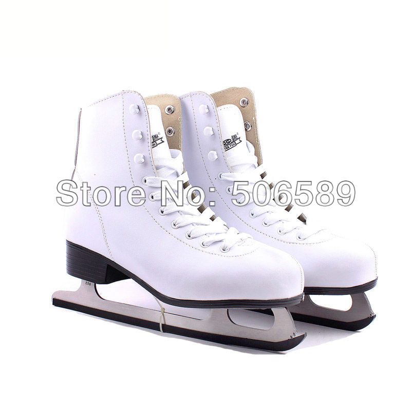 free shipping ice skate shoes white color #33---#42 цена 2017