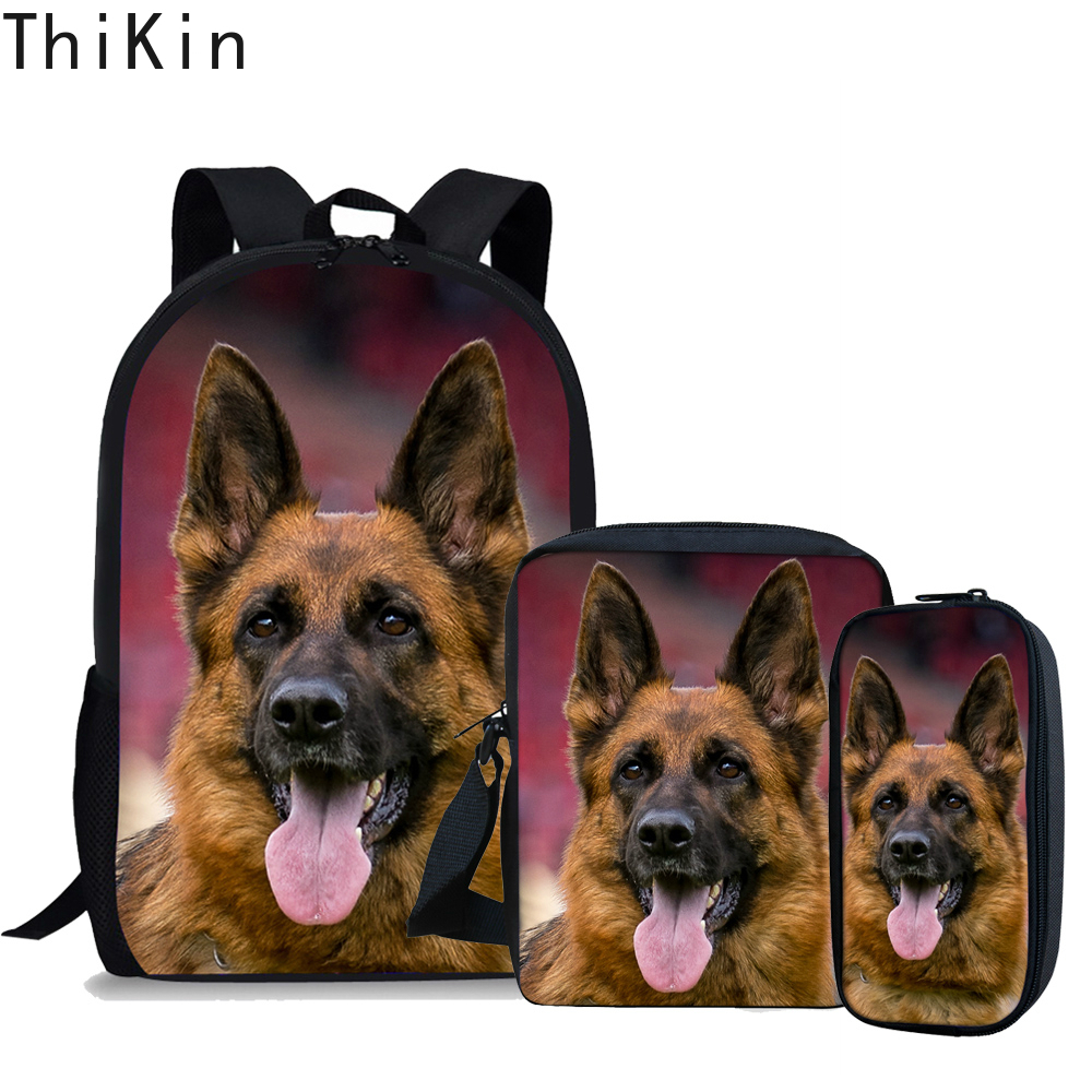 THIKIN School Bags Set For Teenager Cool German Shepherd Pattern 3 Pcs/Set School Backpack Travel Shoulder Bag Mochila Escolar