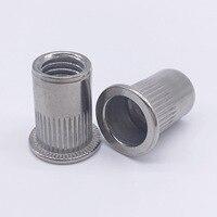 M8 Rivet Nuts Threaded Inserts Blind Nuts Nutserts Rivnut Flat Head Stainless Steel Pack 100