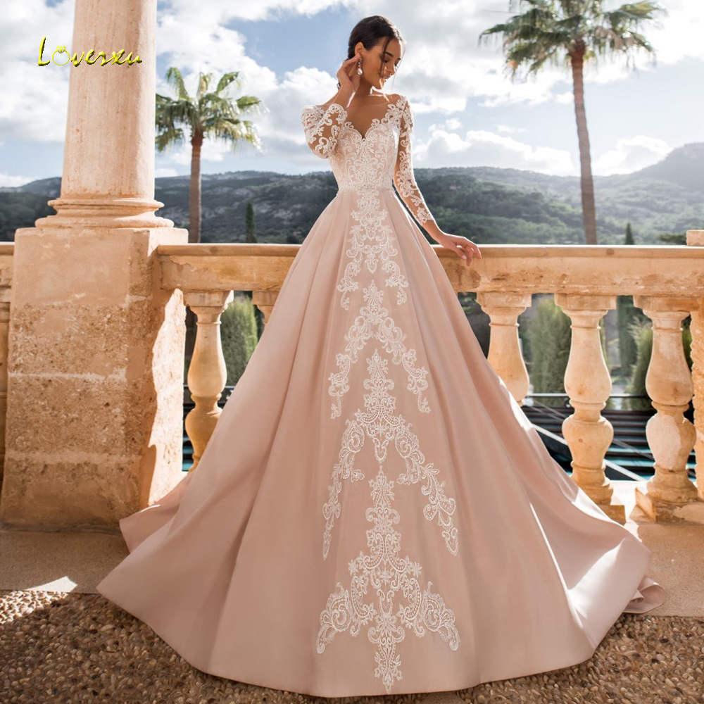 Loverxu Sexy Backless Long Sleeve A Line Lace Wedding Dresses 2019 Appliques Beaded Sashes Court Train Satin Vintage Bridal Gown