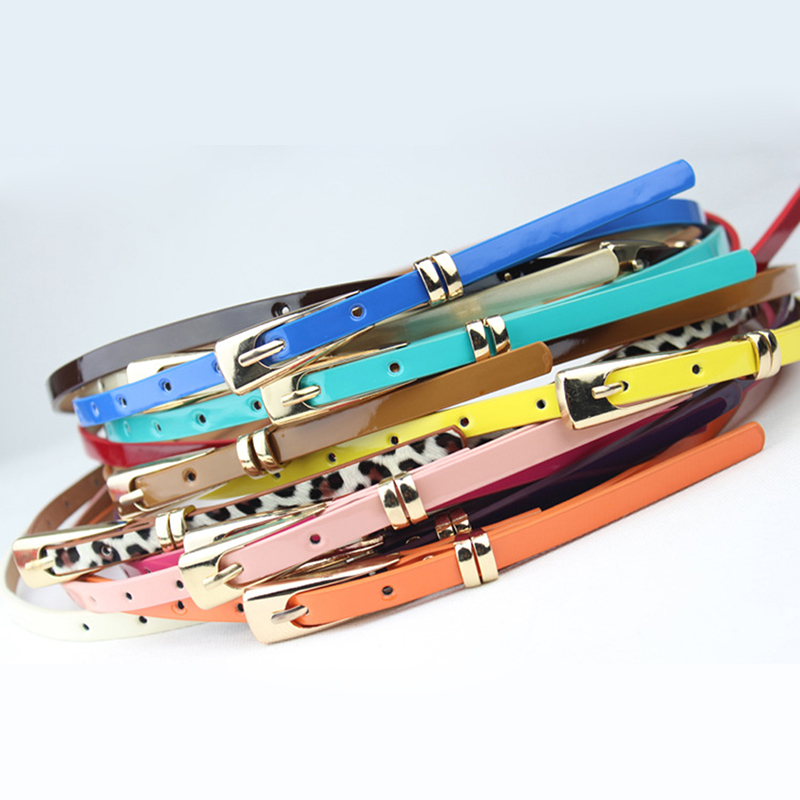 New 8 Colors Thin Pu Leather   Belt   Female Red Brown Black White Yellow Waist   Belts   For Women Dress Strap Wholesale