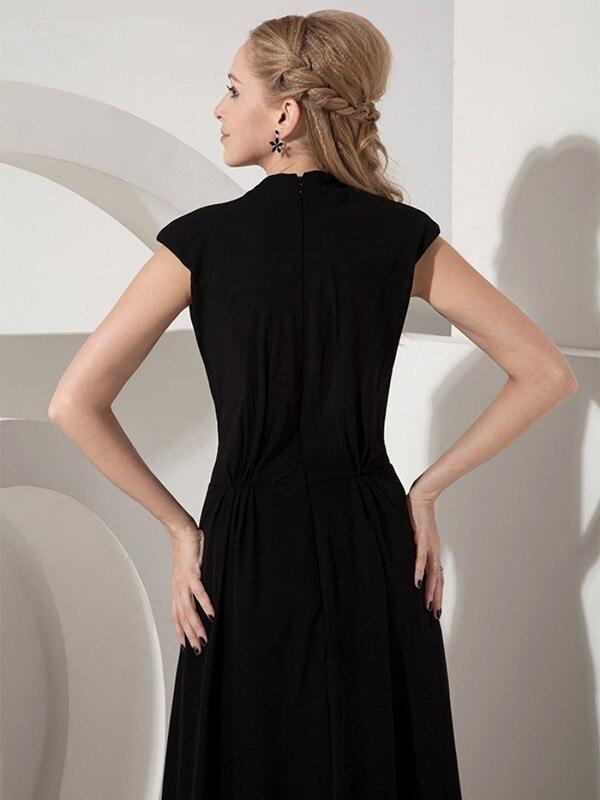 Noir 2019 mère de la mariée robes a-ligne col en v Cap manches en mousseline de soie plissée longue élégante marié mère robes de mariée - 4