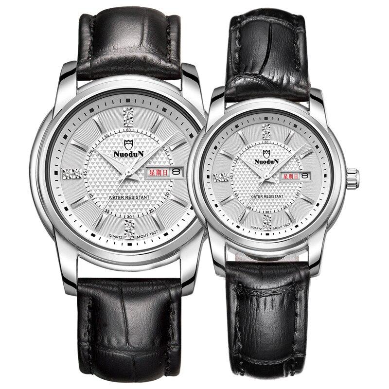 Nuodun Brand Womens Quartz Wrist Watches For Men Women Ultra thin Simple Fashion Leather Casual Lover