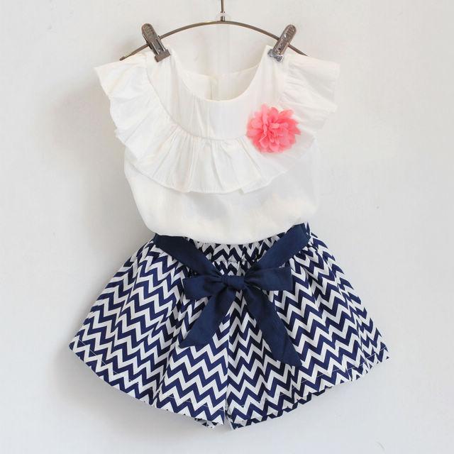 1f4a0b9b7 Nuevo verano 2015 del volante blusa blanca + chevron pantalones de ...