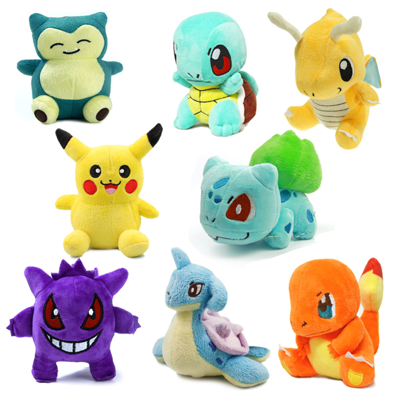 8pcs/lot Pikachu/Charmander/Gengar/Bulbasaur/Squirtle/Dragonite/Snorlax/Lapras Plush kids toys Stuffed dolls for Children Gift