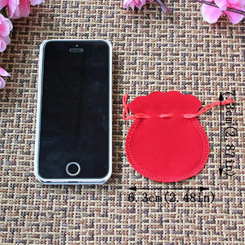 10cs Túi Nhung Đỏ Bao Bì Trang Sức Quà Tặng Túi Bầu Hình Boite Cadeau Rangement BIJOUX Joyero 7.5 Cm * 6.3 Cm bán Buôn