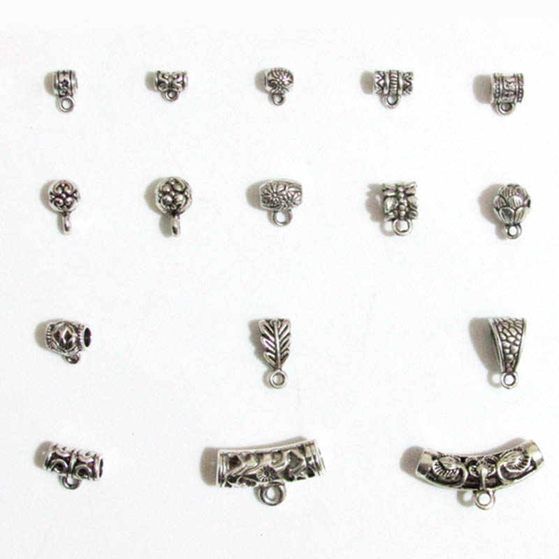 20pcs/lot Tibetan Silver Metal Charm Beads With Loop Multi Size Pendant Clasp Bail Beads Charm Bail Holder Spacer DIY Jewelry