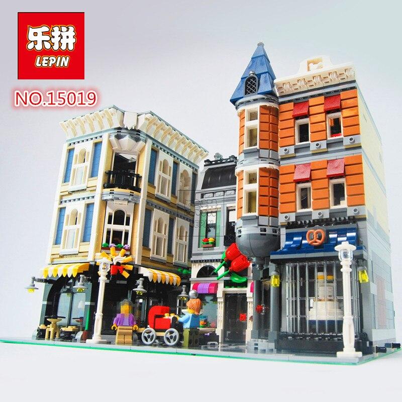 2018 Neue Lepin 15019 Creator Expert Serie MONTAGE PLATZ Bausteine Figures Modell Bricks Kompatibel Mit Legoed 10255 neue lepin 15014 1858 stucke freizeitpark der carnival model bausteine set kompatibel creator 10244 architektur spielzeug gesch