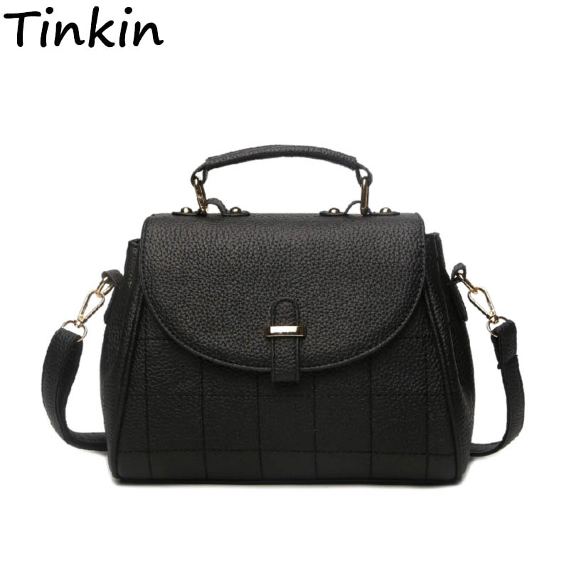 Tinkin Women Elegant PU Shoulderbag Female Vintage Plaid Handbag Lady Daily Shopping Crossbody Bag All-match Casual Dames Tassen
