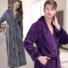Mulheres Homens Inverno Extra Longo Roupão de Banho Quente Luxo Grosso Grade Flanela Robes Roupão De Banho Térmico Suave Roupão Sexy Dama de Honra