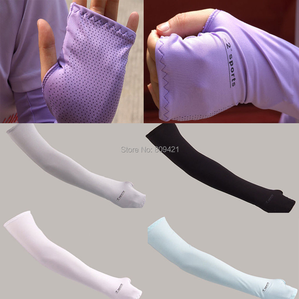 Gold driving gloves - Wholesale 200pairss Lot 45cm Golf Riding Sleeves Sports Arm Cooling Sleeves Warmer Gloves Uv Sun Protection Cover Golf Driving