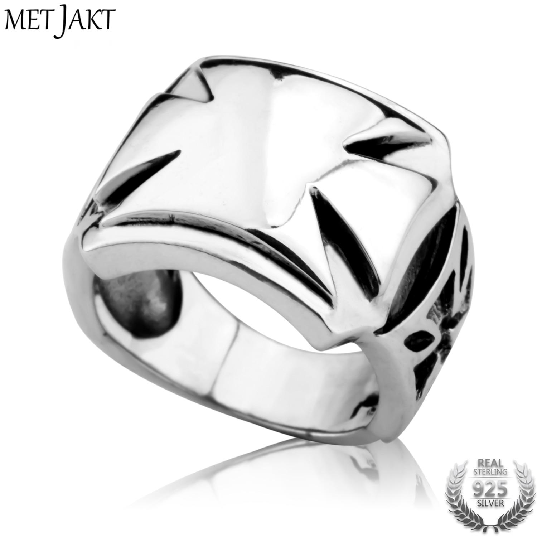 MetJakt Men s Classic Punk Style Cross Ring Solid 925 Sterling Silver Ring for Man Handmade