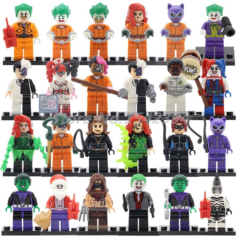 24pcs/lot Joker Harley Quinn Marvel DC Super Hero X-men Building Block Batman Deadpool Hulk Flash Loki Thor Iron Man Spider-man
