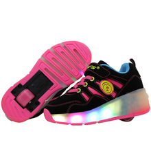Size  27-43// Kids Sneakers Led Shoes With Lights  Glowing Luminous Walking Wheels Children Girls Boys Breathable Light Up shoes