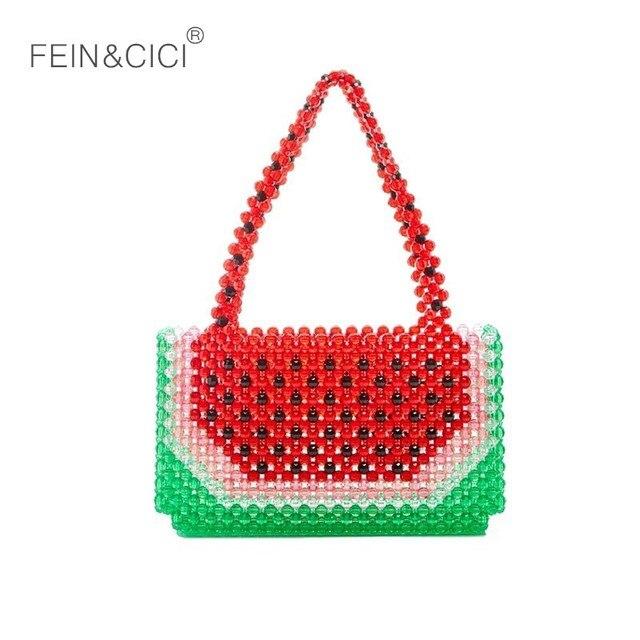 Perlas con reborde bolsa sandía caja bolsa mujeres bolso de verano de 2019 bolsas de marca de lujo de moda al por mayor dropshipping. exclusivo.