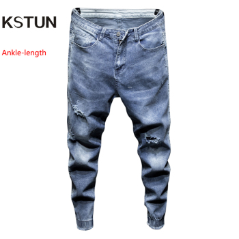2019 Men Jeans Slim Fit Light Blue Elastic Hollow Out Ripped Feet Jogger Pants Male Leisure Modis Trend Streetwear Jeans Homme