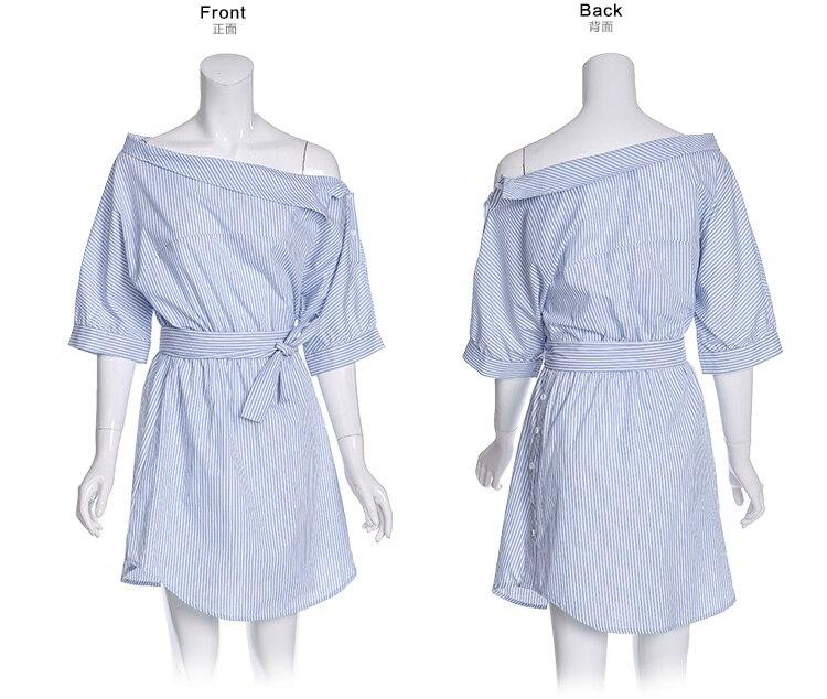 2017Fashion one shoulder Blue striped women shirt dress Sexy side split Elegant half sleeve waistband Casual beach dresses 9