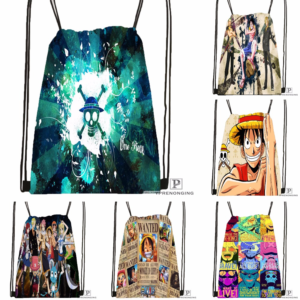 Custom One Piece Drawstring Backpack Bag For Man Woman Cute Daypack Kids Satchel (Black Back) 31x40cm#180531-01-26