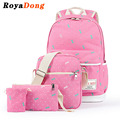 RoyaDong 2017 Spring New School Backpack Set Canvas Cute Bow Printing School bag For Teenage Girls