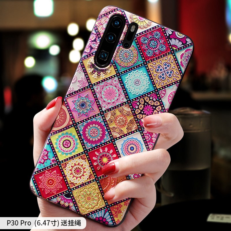 Vintage flower rhombic totem Emboss case Cover For Huawei P30 PRO P20 PRO Mate 20 Pro Mate 20 X case cover in Fitted Cases from Cellphones Telecommunications