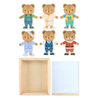 Magnetic Building Blocks Board Educational Toys For Children Bear Change Cloths Magnet Bricks For Kids Montessori Wooden Toy