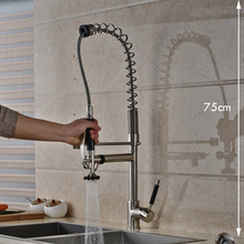 Luxus 75 cm Höhe Küchenarmaturen Einhebel Nickel Gebürstet Hände Frei Sprayer Küchenarmatur Wasserhahn