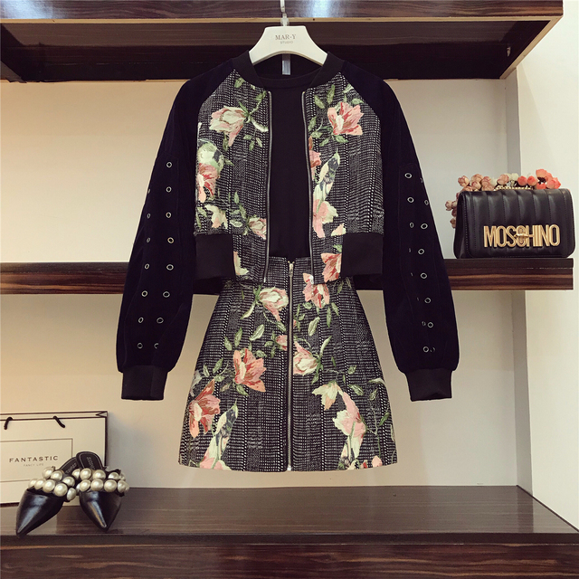 2018 Autumn Womens Vintage Print Stand Collar Zipper Short Jacket + High waist Skirt Two Piece Girls Students Slim Skirts Suit