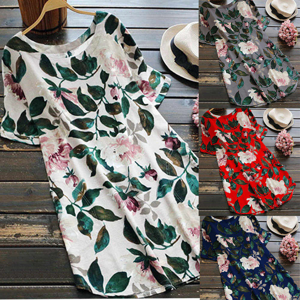 Women Floral Print Mini Dress Summer Party Long Long Sleeve Dress Plus Size summer casual women dress 2019 #Zer