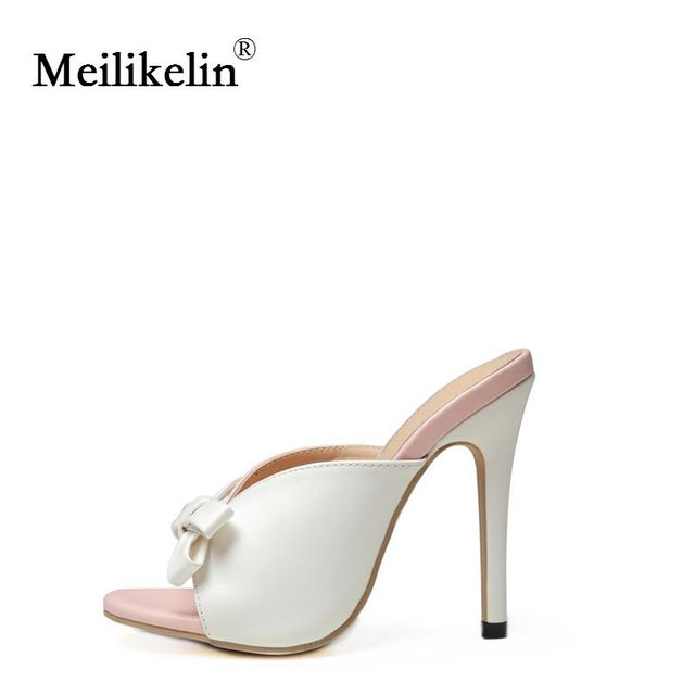 2019 sexy women's shoes stilettos high-heeled Green Patchwork lady slipper thin heels Pink Bride Wedding female shoes Plus Size 1