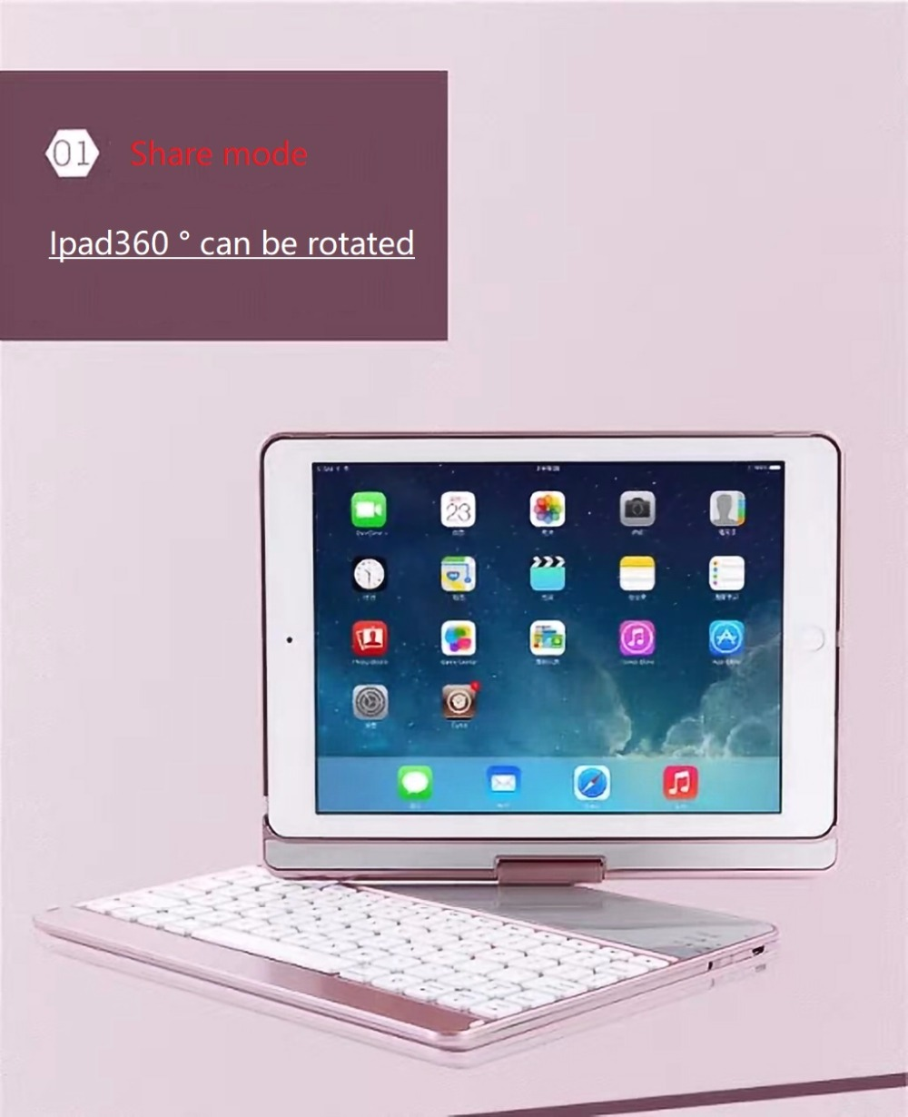 For iPad 2017 Air1 Air 2 Apple Tablet Stands and Bluetooth Keyboard Pro 9.7-Inch Tablet Common 7-Color Light 360 Rotation