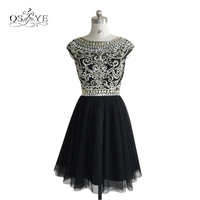 Hot Black Crystal Beaded Homecoming Dresses 2017 A Line Scoop Neck Sleeveless Tulle Girls Prom Party