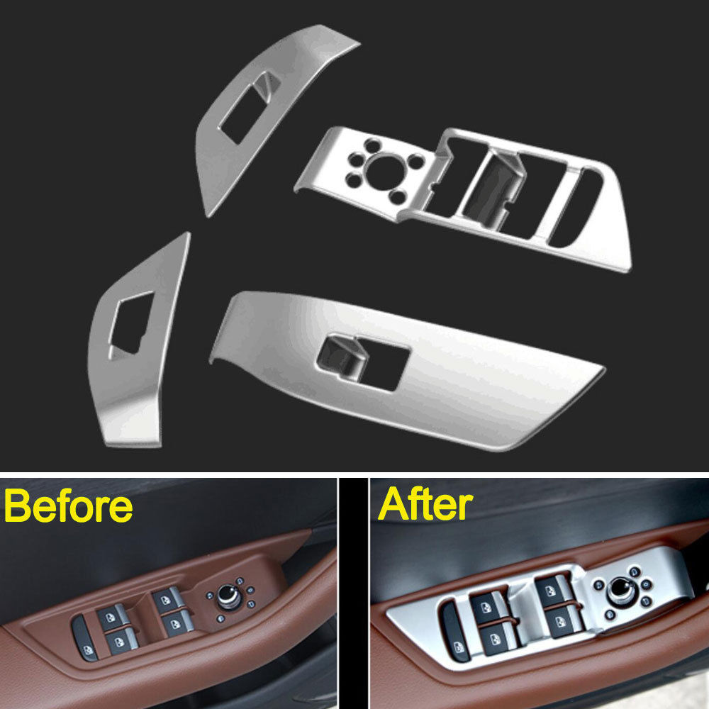 4x ABS Car Interior Door Window Lift Switch Button Cover Trim Interior Mouldings For <font><b>Audi</b></font> <font><b>A4</b></font> <font><b>2017</b></font> Accessories Car Styling image
