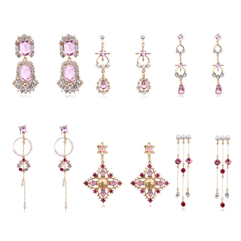 MENGJIQIAO 2019 Korean Fashion Romantic Pink Crystal Tassel Long Earrings For Women Girls Elegant Sweet Dangle Pendientes Gifts