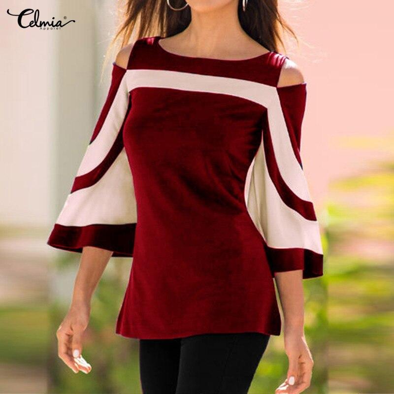 Celmia Women Bell Sleeve Cold Shoulder Tops Plus Size 2018 Autumn Blouse Colorblock Blusas Femininas Female Office Shirts