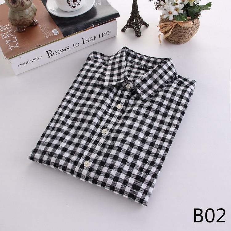 2018 Fashion Plaid Shirt Female College Style Women's Blouses Long Sleeve Flannel Shirt Plus Size Casual Blouses Shirts M-5XL 4