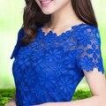2015 nova moda rendas camisa de manga curta fino rendas Floral blusa verão Crochet Top blusas femininas