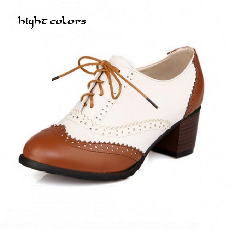 2018 Fashion Black/Brown Carved Coarse Lace Up Thick Heels Women Pumps Casual Oxford Shoes For Women Sapato Feminino