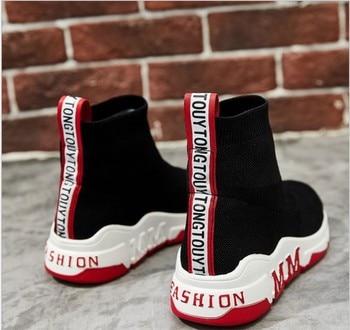 2019 wiosna buty do biegania dla kobiet wysokie góry skarpety trampki damskie oddychające sportowe miękkie buty z palcami z dzianiny obuwie do