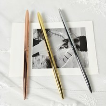 NEVER Nordic Style Rose Gold Brass Ballpoint Pen Creative Designer  Signature Metal Pen For School Office Accessories Stationery